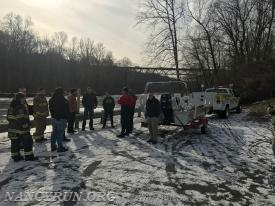 Companies operating at an Ice Rescue at the Hope Road boat launch.
